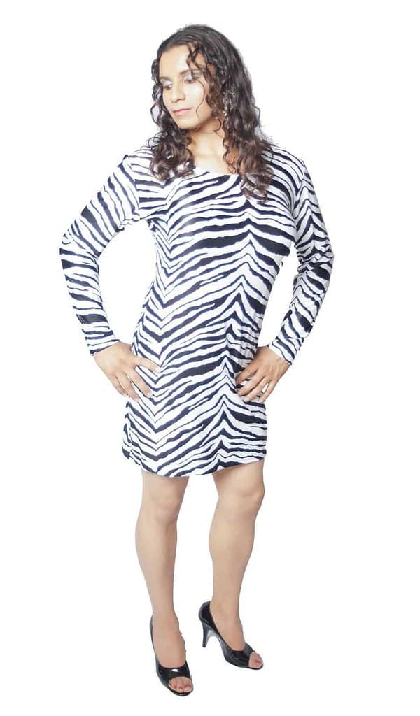 Zebra Print Long Sleeve Dress